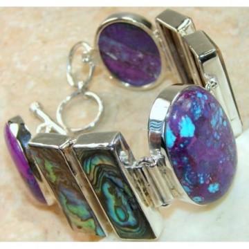 Bracelet with Abalone Shell, Purple Turquoise Gemstones