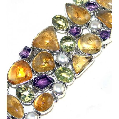 Bracelet with Citrine Cabochon, Peridot Faceted, Amethyst Faceted, Pearl Gemstones