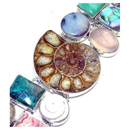 Bracelet with Ammonite, Mix Cabochons Gemstones