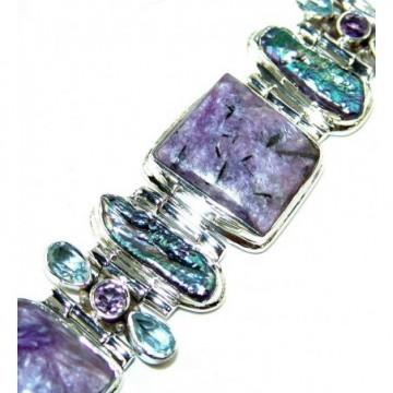Bracelet with Charoite, Biwa Pearl, Blue Topaz, Amethyst...