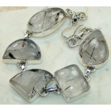 Bracelet with Black Rutilated Quartz Gemstones