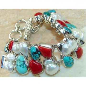 Bracelet with Coral, Turquoise, Pearl Gemstones