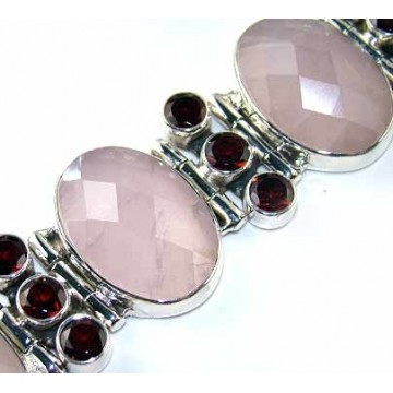 Bracelet with Rose Quartz, Garnet Faceted Gemstones