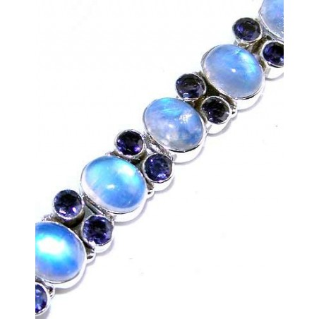 Bracelet with Rainbow Moonstone Gemstones
