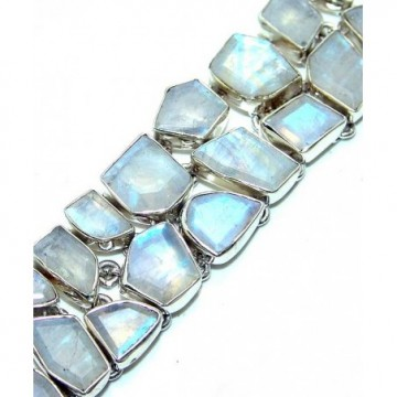Bracelet with Rainbow Moonstone Faceted Gemstones