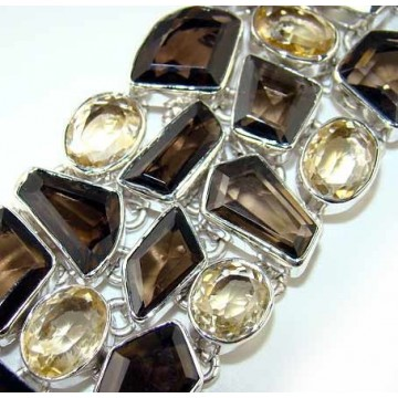 Bracelet with Smokey Quartz, Citrine Faceted Gemstones