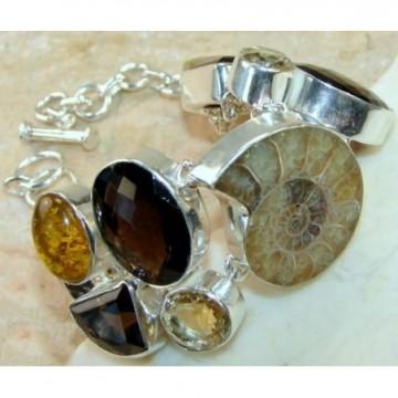 Bracelet with Ammonite, Citrine Faceted, Smokey Quartz,...