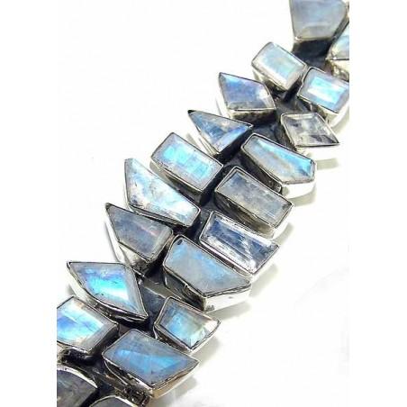 Bracelet with Rainbow Moonstone Faceted Gemstones