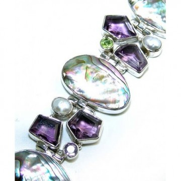 Bracelet with Abalone Shell, Amethyst Faceted, Pearl,...