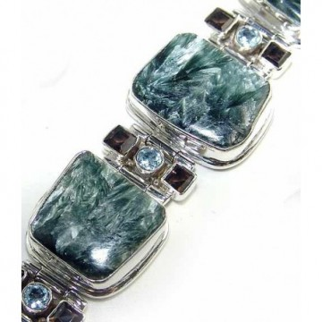Bracelet with Seraphinite, Garnet Faceted, Blue Topaz...