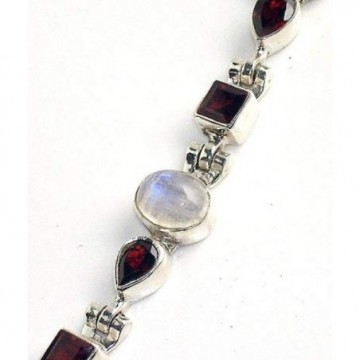 Bracelet with Moonstone, Garnet Faceted Gemstones