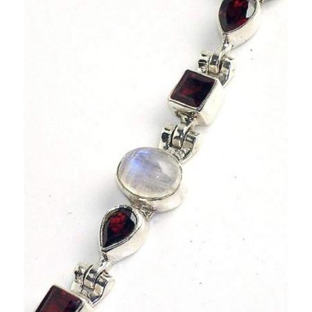 Bracelet with Moonstone, Garnet Faceted Gemstones