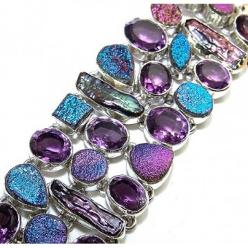 Bracelet with Amethyst Faceted, Titanium Drusy, Biwa...
