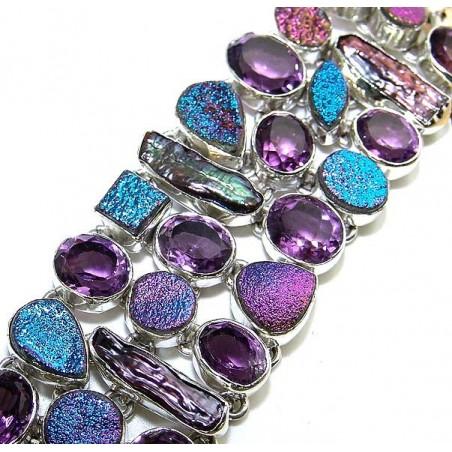 Bracelet with Amethyst Faceted, Titanium Drusy, Biwa Pearl Gemstones