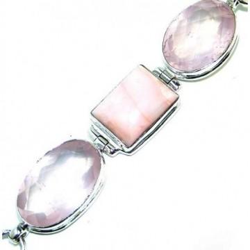 Bracelet with Pink Opal, Rose Quartz Gemstones