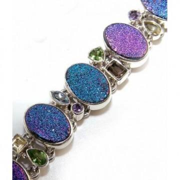 Bracelet with Mixed Faceted Stones, Titanium Drusy Gemstones