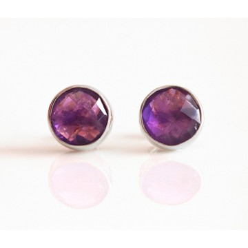 Handmade Amethyst Gemstone Cut Stone Studs Earrings