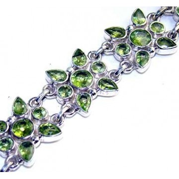 Bracelet with Peridot Faceted Gemstones