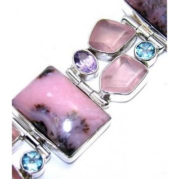 Bracelet with Pink Opal, Rose Quartz, Amethyst Faceted,...