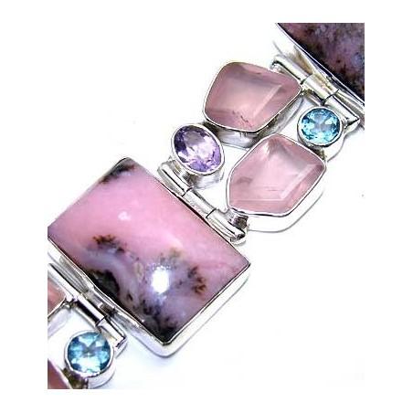 Bracelet with Pink Opal, Rose Quartz, Amethyst Faceted, Blue Topaz Gemstones