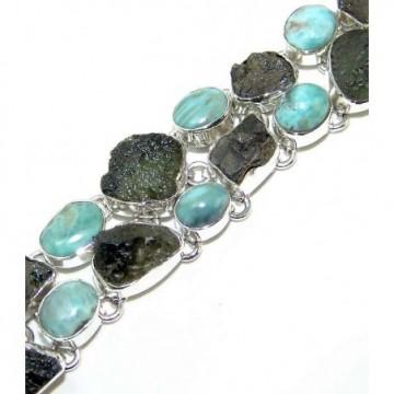 Bracelet with Larimar, Moldavite Gemstones