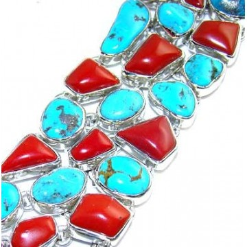 Bracelet with Coral, Turquoise Gemstones