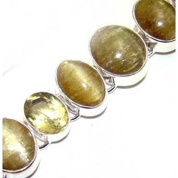 Bracelet with Golden Rutilated Quartz Gemstones