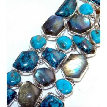Bracelet with Labradorite, Turquoise, Azurite Gemstones