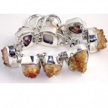 Bracelet with Citrine Drusy Gemstones