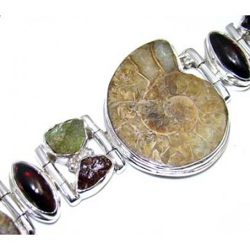 Bracelet with Ammonite, Peridot Rough, Garnet Cabochon...