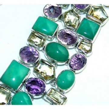 Bracelet with Chrysoprase, Amethyst Faceted, Lemon Quartz...