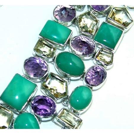Bracelet with Chrysoprase, Amethyst Faceted, Lemon Quartz Gemstones