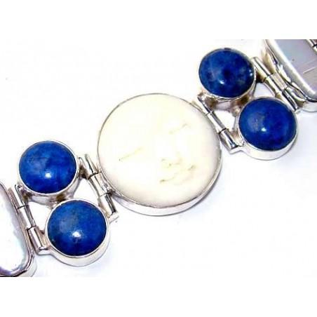 Bracelet with Face Carving, Lapis Lazuli, Biwa Pearl Gemstones