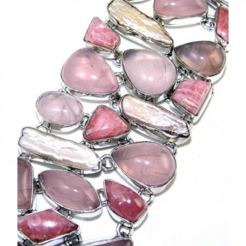 Bracelet with Rose Quartz, Rhodochrosite, Biwa Pearl...