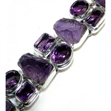 Bracelet with Amethyst Faceted, Amethyst Rough Gemstones
