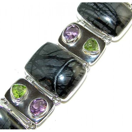 Bracelet with Jasper, Mixed Faceted Stones Gemstones