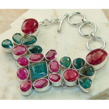 Bracelet with Ruby, Emerald Gemstones