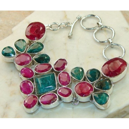 Bracelet with Ruby, Emerald Gemstones