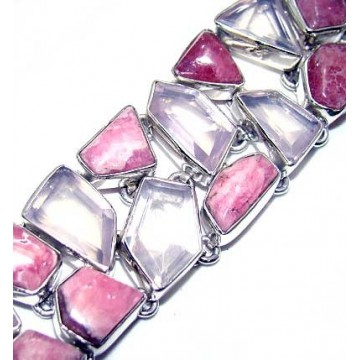 Bracelet with Rose Quartz, Rhodochrosite Gemstones