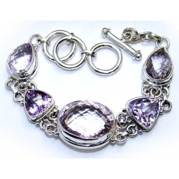 Bracelet with Pink Amethyst Gemstones