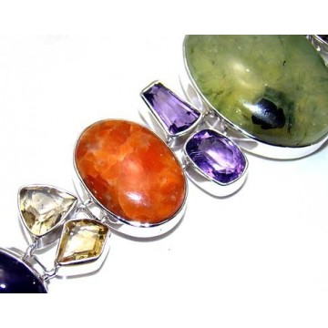 Bracelet with Prenite, Agate, Amethyst Faceted, Citrine...
