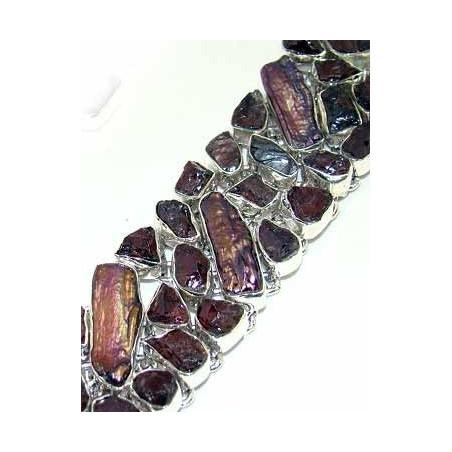 Bracelet with Amethyst Rough, Biwa Pearl Gemstones