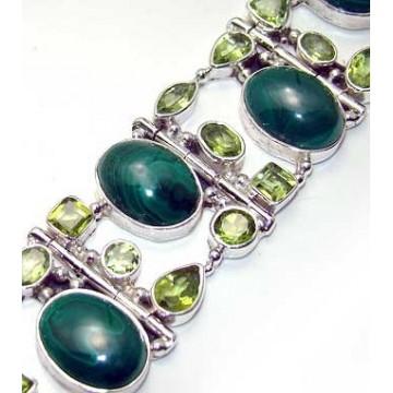 Bracelet with Melakite, Peridot Faceted Gemstones