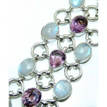 Bracelet with Rainbow Moonstone, Amethyst Faceted Gemstones