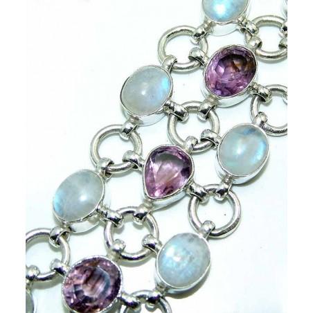 Bracelet with Rainbow Moonstone, Amethyst Faceted Gemstones