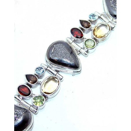 Bracelet with Coated Drusy, Mixed Faceted Stones Gemstones