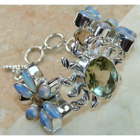 Bracelet with Green Amethyst, Moonstone Gemstones