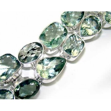 Bracelet with Green Amethyst Gemstones
