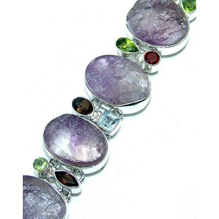Bracelet with Amethyst Rough, Peridot Faceted, Blue Topaz, Smokey Quartz Gemstones