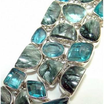 Bracelet with Seraphinite, Blue Quartz Gemstones